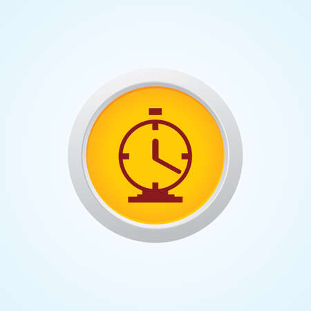 reminding: Icon of Clock on Button. Eps-10.