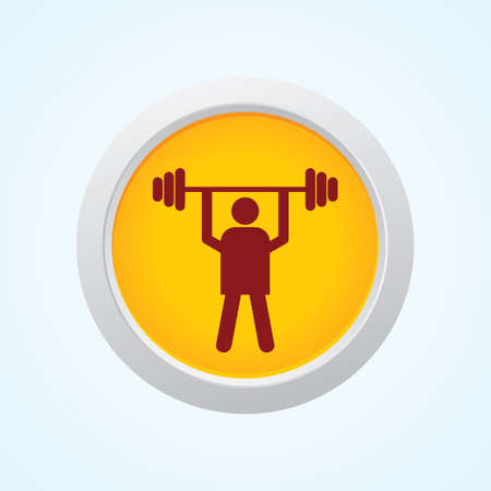 weight lifter: Editable Vector Icon of weight lifter on Button. Eps-10. Illustration