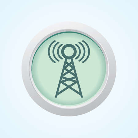 transmit: Editable Vector Icon of Network Tower on Button. Eps-10. Illustration