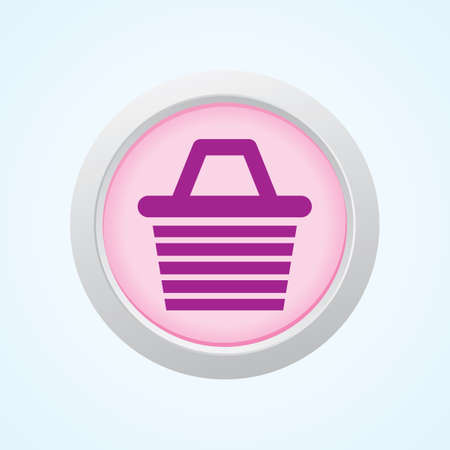 supermarket checkout: Editable Vector Icon of Shopping Basket on Button. Eps-10. Illustration