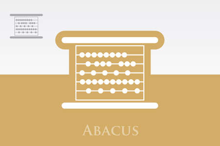 compute: Icon of Abacus on Colorful Background. Eps.-10.