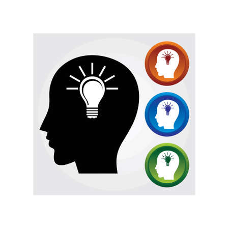 Silhouette of man with bulb representing an idea