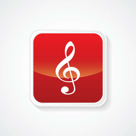 Very Useful Icon of Music note on Red Button. Eps.-10. Vector
