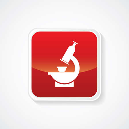 biochemical: Very Useful Icon of Microscope on Red Glossy Button. Eps-10 Illustration