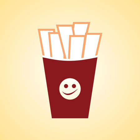 Fast Food Vector Icon. French Fries Potato in Bucket. Vector
