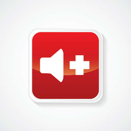 useful: Very Useful Icon of Volume on Red Button. Eps.-10. Illustration