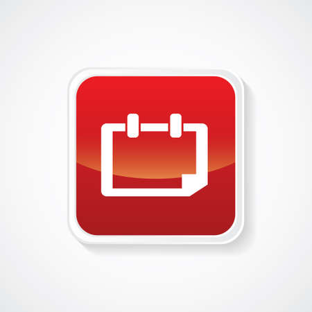 Calender Icon on red glossy button Illustration