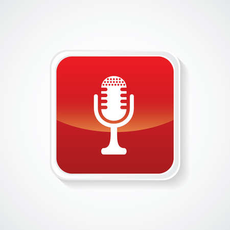 mc: Very Useful Icon of Microphone on Red Button. Eps.-10. Illustration