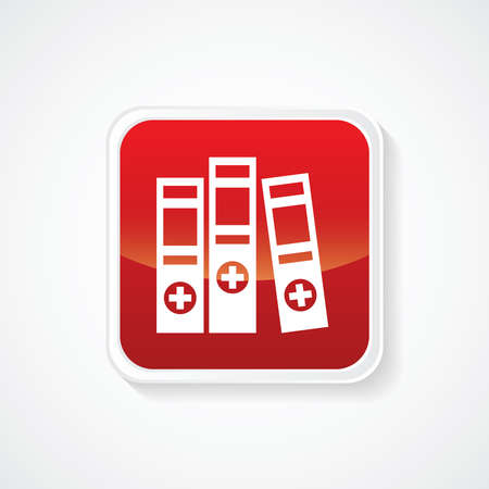 stack of files: Very Useful Icon of 3 Medical Folders on Red Button. Eps.-10.