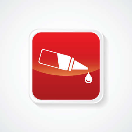 ear drop: Very Useful Icon of Eye & Ear Drop on Red Button. Eps.-10. Illustration