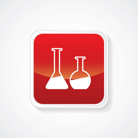 laboratory equipment: Very Useful Icon of Laboratory Equipment (Beakers) on Red Glossy Button. Eps-10