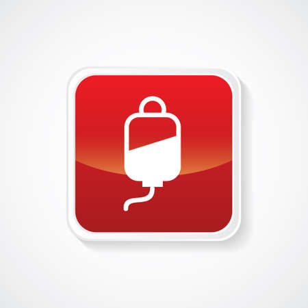 faint: Very Useful Icon of Blood Unit on Red Glossy Button. Eps-10 Illustration