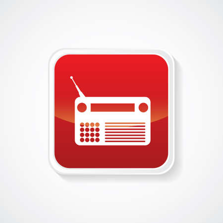 transistor: Very Useful Icon of Radio (Transistor) on Red Glossy Button. Eps-10