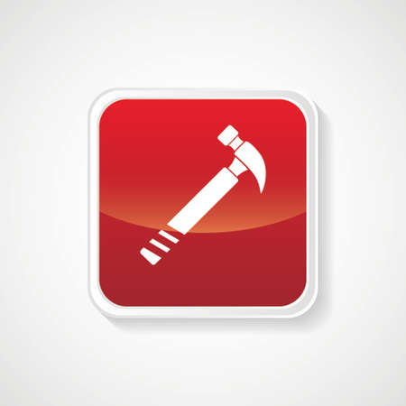 Very Useful Icon of Hammer on Red Glossy Button. Eps-10 Vector