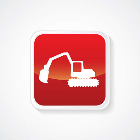 mine site: Excavator digger vector icon