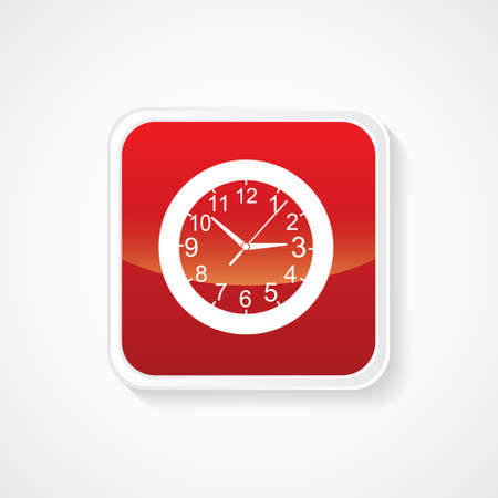time keeping: Icon of Wall Clock on Red Glossy Button. Eps-10