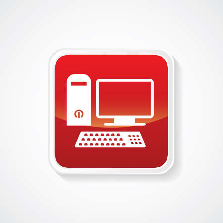 tele communication: Icon of Personal Computer (Desktop) on Red Glossy Button. Eps-10 Illustration