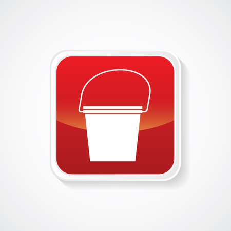 bucketful: Icon of Bucket on Red Glossy Button. Eps-10