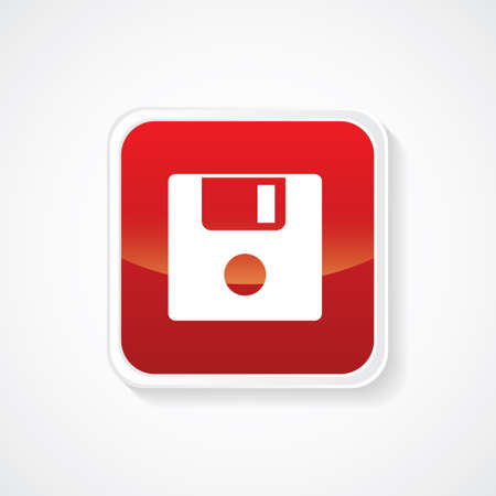 salvaging: Floppy Disk Icon on Red Glossy Button. Eps.-10