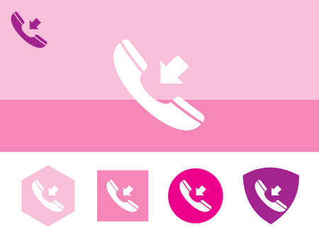 spiral cord: Icon of phone receiver on colorful background with four other buttons with color shades. Eps-10 Illustration