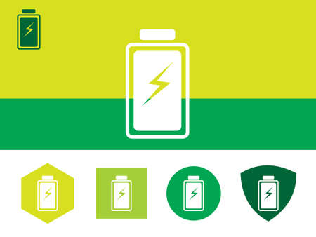 Icon of Battery on colorful background with four other buttons with color shades. Eps-10