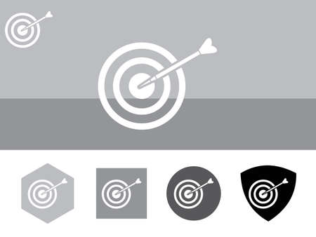 marksmanship: Icon of Bull Eye on colorful background with four other buttons with color shades. Eps-10