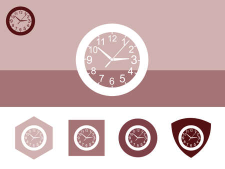 time keeping: A wall clock icon on colorful background with 4 shapes buttons. Eps-10.