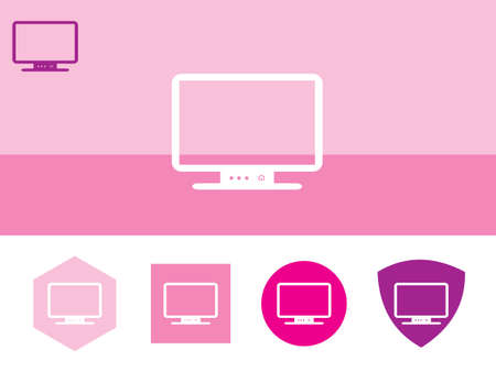 lcd: LCD monitor icon on colorful background with 4 shapes buttons. Eps-10. Illustration