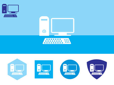 desktop computer icon on colorful background with 4 shapes buttons. Eps-10. Illustration