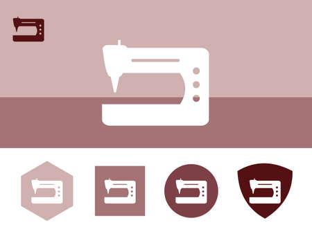 computerized: Sewing machine icon on colorful background with 4 shapes buttons. Eps-10.