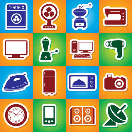 standby: Colourful Icon Set Of Home Appliances