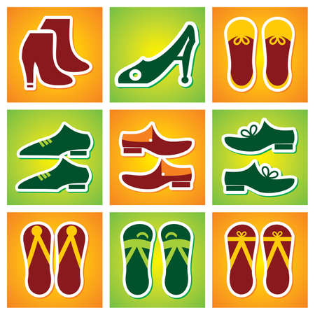 woman hiking: Collection of Colourful shoes Icon
