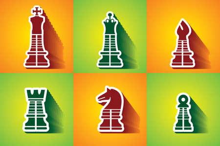 chessman: chessman colourful vector icons Illustration