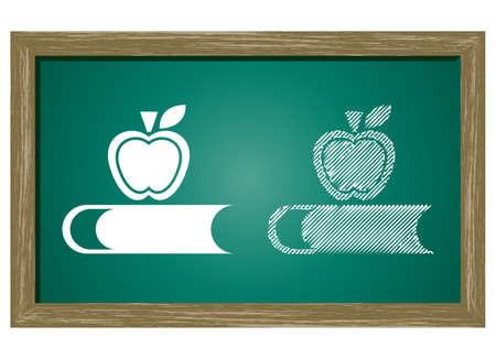fruit and veg: Editable icon of apple On Green Blackboard