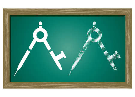 contracting: Editable icon of Maths compass Isolated On Green Blackboard Illustration