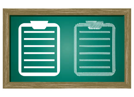 clipboard isolated: Editable icon of clipboard Isolated On Green Blackboard Illustration