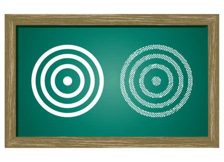 bulls eye: Editable icon of Bulls eye Isolated On Green Blackboard