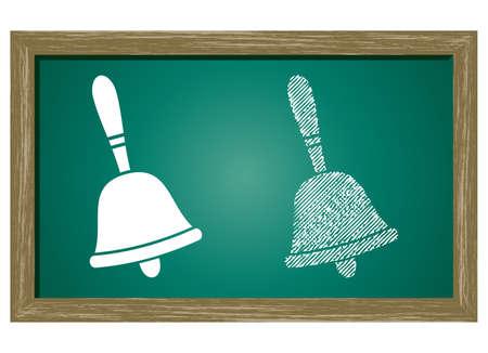 handbell: Editable icon of Ringing Bell Isolated On Green Blackboard