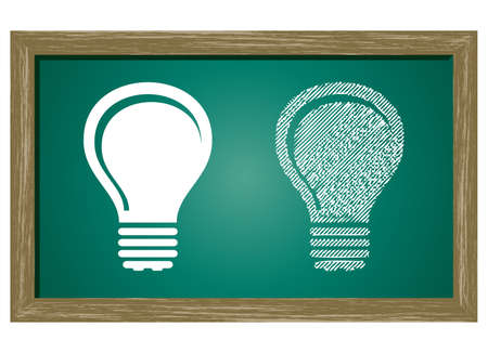 Editable icon of Bulb Isolated On Green Blackboard Vector