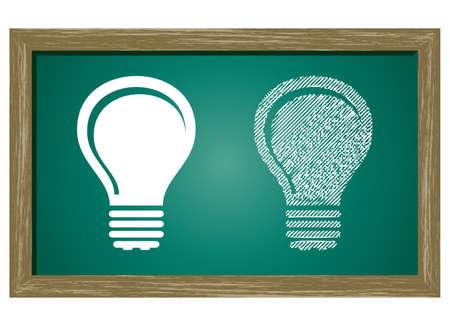 Editable icon of Bulb Isolated On Green Blackboard Vector