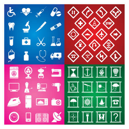 home appliances: Colourful icons musical, shiping, medical, home appliances 66 icons Illustration