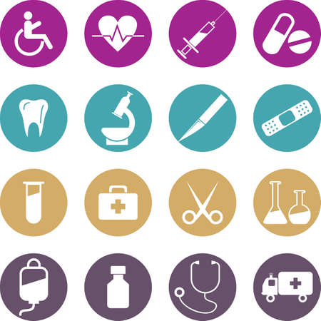 icons collection: Medical Button Set. Vector Illustration, eps 10