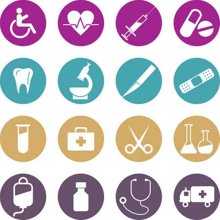 medical illustration: Medical Button Set. Vector Illustration, eps 10