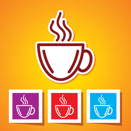 instant coffee: Colourful Icon of Coffee Cup Illustration