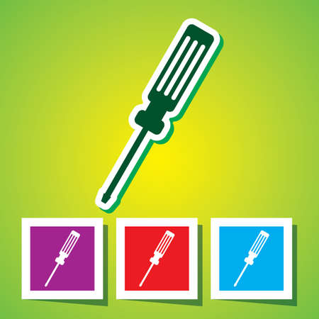 turn screw: Colourful icon of Screw Driver Illustration