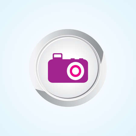 cam gear: Icon of Camera on Button. Eps-10.
