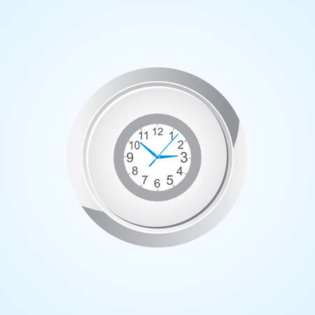 time keeping: Icon of Wall Clock on Button. Eps-10.