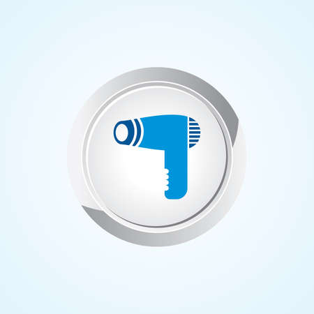 drier: Icon of Hair Dryer on Button. Eps-10. Illustration