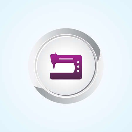 computerized: Icon of Sewing Machine on Button. Eps-10.