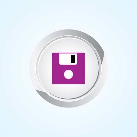 salvaging: Icon of Floppy Disk on Button. Eps-10.
